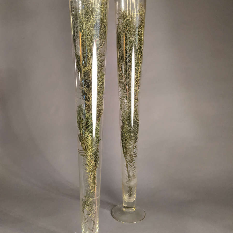 Pair of Vintage Lily Glass Vases