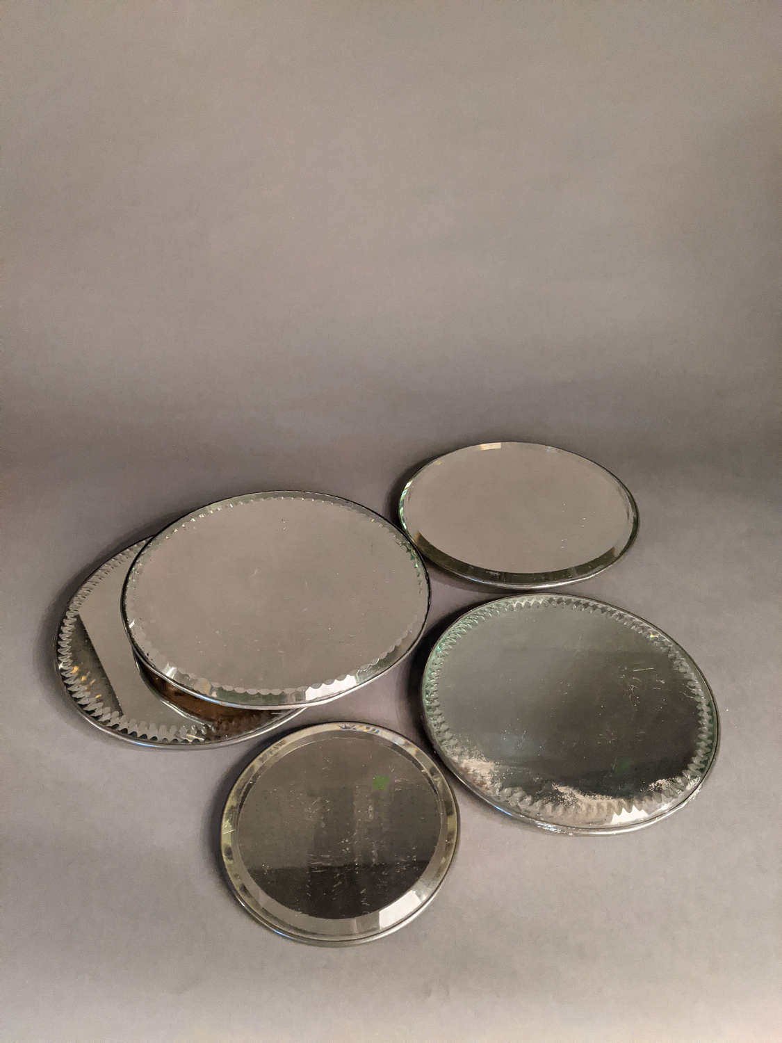 Assorted English Antique Mirror Plates