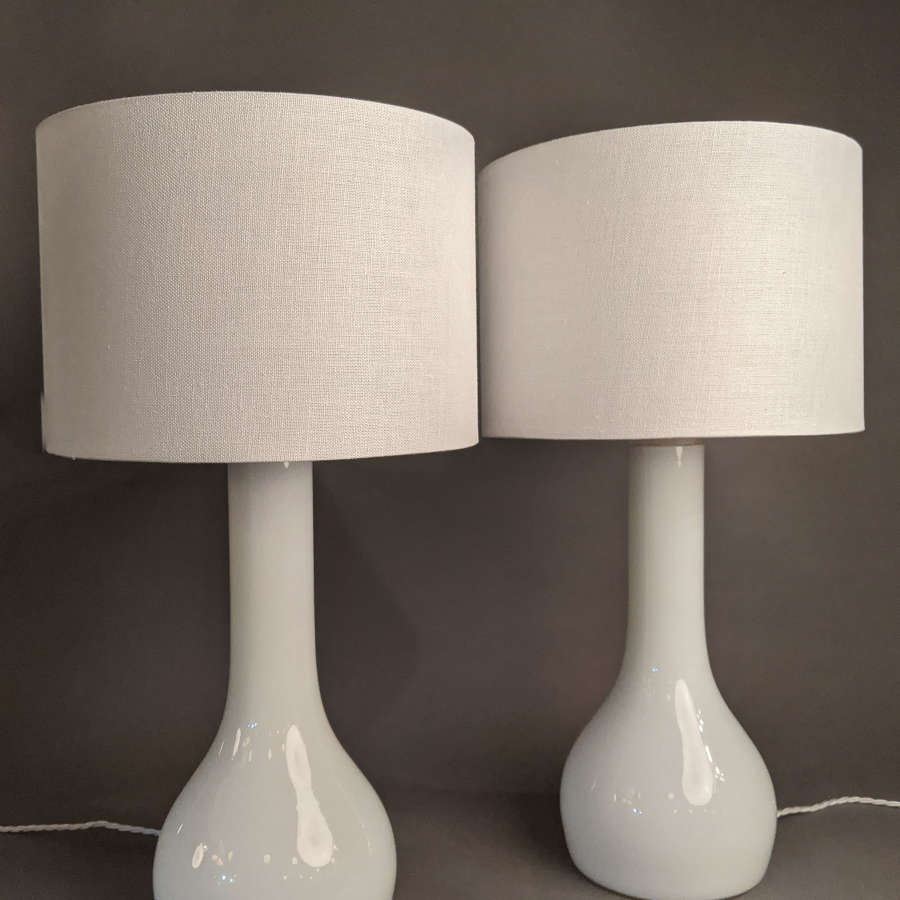 Pair of White Glass Lamps