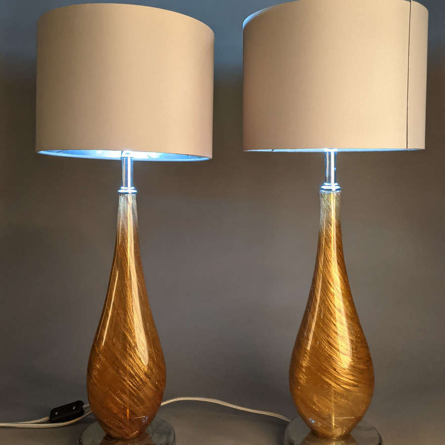 Pair of Gold Glass Lamps