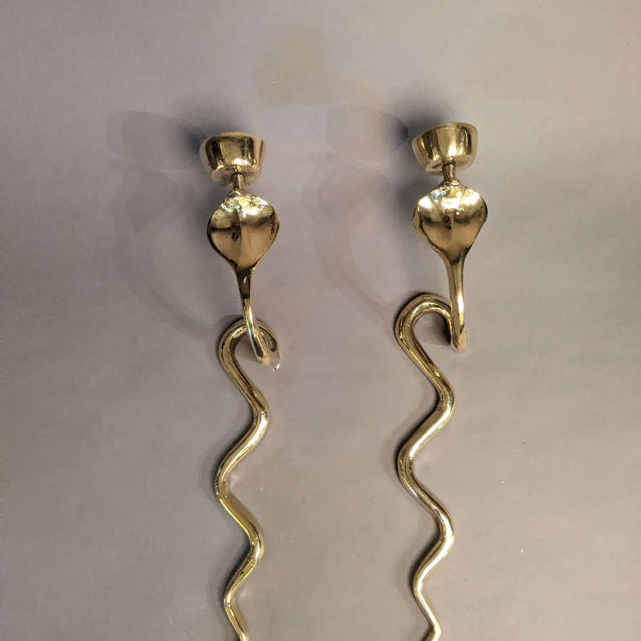 Pair of Brass Candlesticks or Sconces