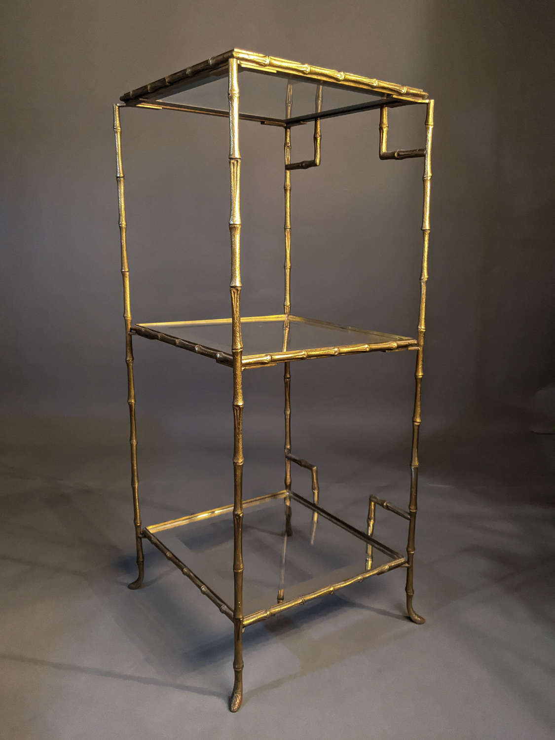 Faux Bamboo Brass Etagere