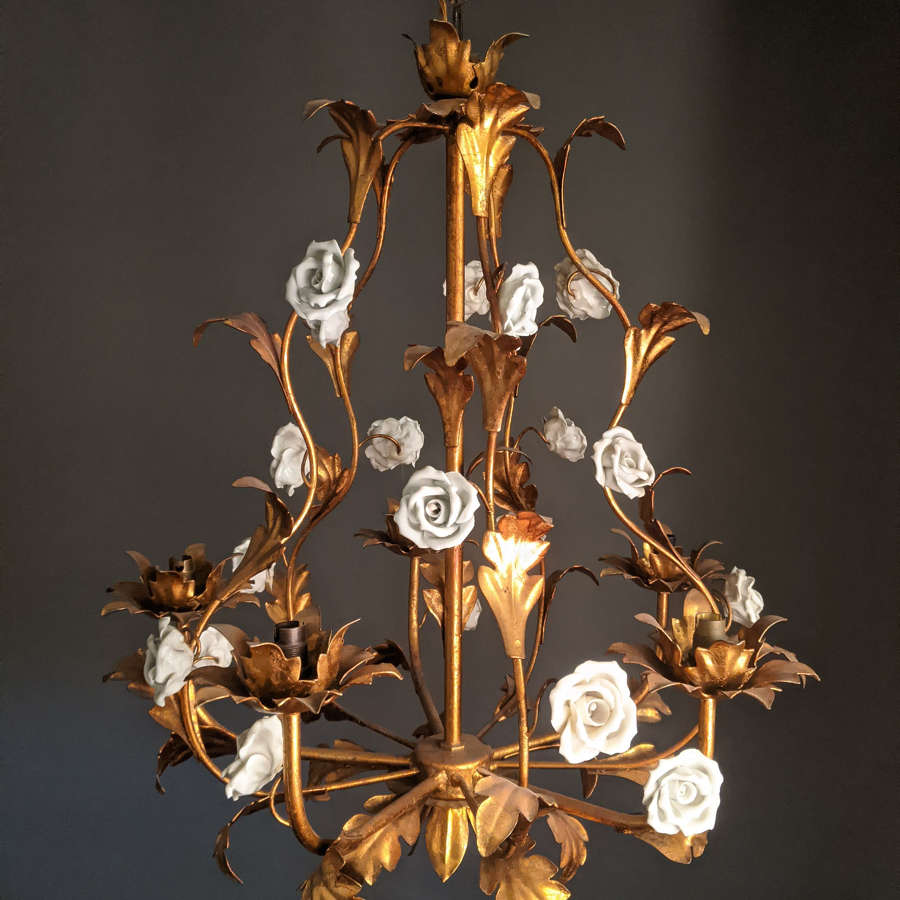 Brass and Porcelain French Chandelier